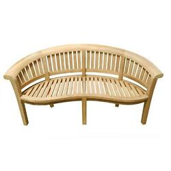 Traditional Style Natural Teak Wood Garden Bench 3 Seater Slatted BackSeat
