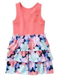 NWT Gymboree Girls TROPICAL BREEZE Tiered Gem Flower Knit Dress NEW Size 6