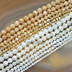 Natural White & Yellow Mother Of Pearl MOP Shell Round Beads 16