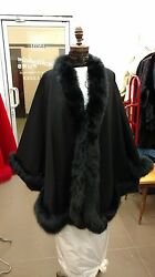 BLACK FOX FULL SKIN TRIMMED 100% CASHMERE SWING CAPE WRAP COAT NEW WITH TAGS
