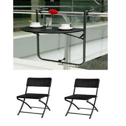 Garden Furniture Set Portable Hanging Patio Table+2x Portable Folding Chair S2R3