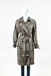 Lanvin Gray Dark Brown Leopard Print Double Breasted Belted LS Trench Coat SZ 38