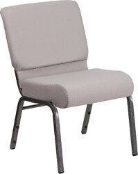 LOT OF 50 21'' EXTRA WIDE GRAY DOT FABRIC STACKING CHURCH CHAIR- SILVER FRAME