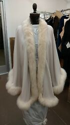 EGGSHELL WHITE CREAM FOX FULL SKIN TRIMMED 100% CASHMERE SWING CAPE WRAP COAT