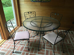 Wrought Iron Patio Dining Set Table 4 Chairs Meadowcraft