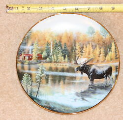 Jim Kasper plate The Loner Moose Christmas Cabin XMAS Gift #WY #ID #CO #MN #WI