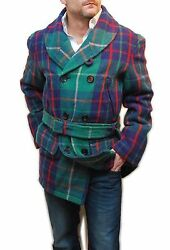 Polo Ralph Lauren Mens Wool Shawl Belted Pea Coat Jacket Green Navy Red Plaid XL