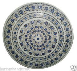 3'x3' Marble Dining Table Top Lapis Mosaic Floral Inlay Patio Decor Gifts H949A