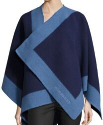 NWT  BURBERRY BLUE CAPE SHAWL PONCHO FELTED WOOL CASHMERE COLOUR BORDER