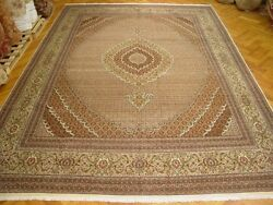 New Ivory 11' x 17' Tabriz Persian Hand-Knotted Original Rug Wool & Silk Mahi