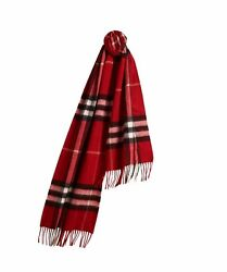 BURBERRY Woman's Men's Parade Red Heritage Check 100% Cashmere Classic Scarf