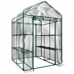 Plant Large Walk in Greenhouse with Clear Cover - 12 Shelves Stands 3 Tiers Rac