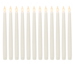 Realistic Looking Faux Wax Flameless Taper LED Candle 12 Pack 11quot;Inch Tall Ivory $25.95