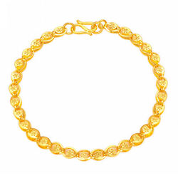 New Pure 24k Yellow Gold Bracelet Button Shape Link Chain 5.1-5.3g J.Lee 6.7