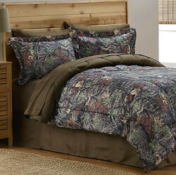 Camouflage Mossy Tree Hunting Cabin Boys Queen Comforter Set (8 PC Bed In A Bag)