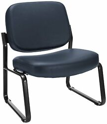Lot Of 10 OFM Big and Tall Vinyl Armless Guest  Reception Chair Navy