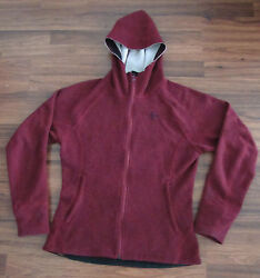 BACKCOUNTRY.COM BACKCOUNTRY MAROON WOOL BLEND FLEECE HOODED JACKET WOMENS SZ L
