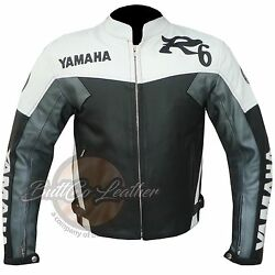 New R6 YAMAHA Riding Motorcycle Clothing GREY Leather BIKER Jacket ONLINE ButtCo