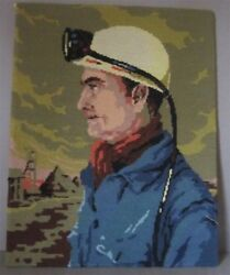 Very Well Executed Wool Needlepoint Tapestry Ore Miner Theme by Royal Paris