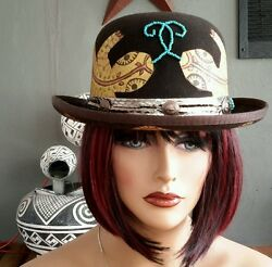 CUSTOM Hand Painted Artist signed VINTAGE DERBY BROWN HAT Pure Wool 7 18 USA