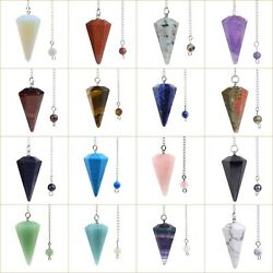 37mm Faceted gemstone crystal healing point chakra hexagonal pendulum 6