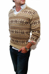 Ralph Lauren Purple Label Mens Handknit Cashmere Indian Sweater Brown Beige XXL
