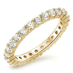 Yellow Gold Plated CZ Eternity Anniversary Band .925 Sterling Silver Sizes 4-10