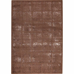 M.A.Trading Subtle Squares Brown New Zealand Wool Rug 7'10x9'10 Brown Rug