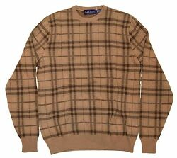 Polo Ralph Lauren Purple Label Mens Sweater Plaid Tan Brown Italy Cashmere Small