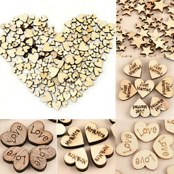 100pcs Rustic Wooden Love Heart Wedding Table Scatter Decoration Wo