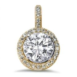 Yellow Gold Plated Round Halo Cubic Zirconia .925 Sterling Silver Pendant