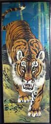Antique Chinese Silk Painting of Tiger Signed With Seal 45