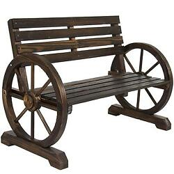 Best Choice Products Patio Garden Wooden Wagon Wheel Bench Rustic Wood...