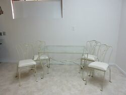 Vintage Iron Outdoor Patio Salterini Dining Table and 4 Chairs Porch