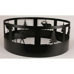 Coast Lamp Rustic Living Pine Tree & Elk Campfire Ring Black - 15-R30G