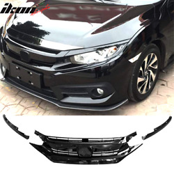 Fits 16-18 Civic 10th Gen OE Gloss Black Front Grille Hood Mesh Eye Lid ABS $65.99