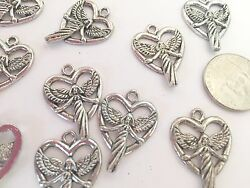 Silver Angel Charms Open Heart Alloy 20x20 mm 0.75