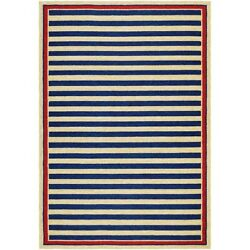 Couristan Covington Nautical Stripes Navy & Red IndoorOutdoor Rug