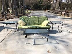 Vintage Woodard Wrought Iron  Patio Sofa Couch Matching Coffee & End Tables
