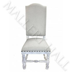 Solid Vietnamese Hardwood Frame White Wash Beige Linen Dining Chair Qty 4 6 8--