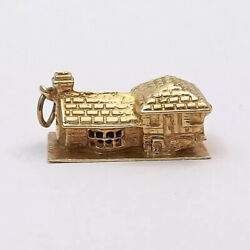 14K Gold 3D Log Cabin House Home Charm Pendant 5.2gr