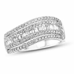 78ct Baguette and Round DVVS1 Diamond Anniversary Band Ring 18K White Gold