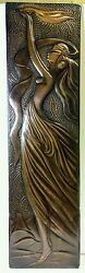 HANDCRAFTED ART NOUVEAU DECO REPOUSSE COPPER GODDESS WOMAN PICTURE WALL HANGING