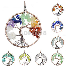 50mm Copper Tree of life pendant Rose Crystal Necklace Gemstone Chakra Jewelry