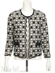 06A CHANEL Black White Mesh Cashmere CARDIGAN Sweater FR-4244