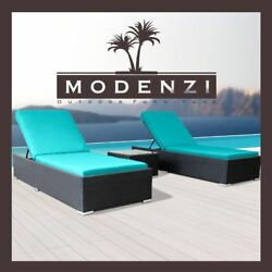 Modenzi 3 PCS Outdoor Rattan Wicker Chaise Lounge Sofa Couch Patio Furniture Set