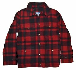 Polo Ralph Lauren Mens Merino Wool Cotton  Plaid Red Black Jacket Large