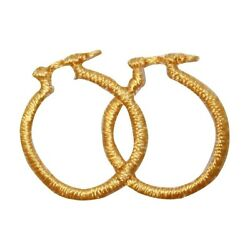 ID 9074 Lot of 3 Gold Hoop Earrings Patch Jewelry Embroidered Iron On Applique $6.99