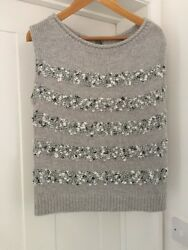 Mint Velvet Grey Jumper  Knit Top Tank With Button Back Size 10