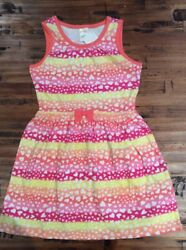 Gymboree Tropical Girls Heart knit Pink Orange Striped dress size 6 NWT